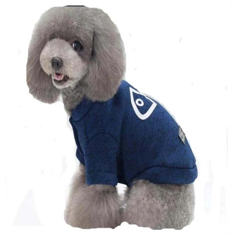 A Dog Wearing The Blue Fishbone Jacket
