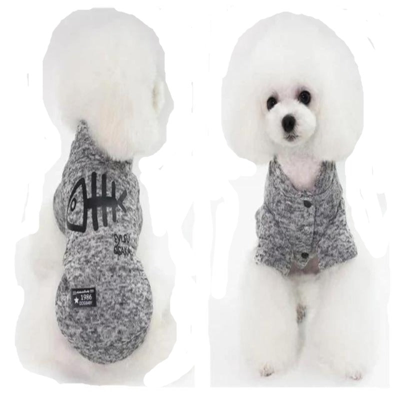 A Dog Wearing The Gray Fishbone Dog Jacket