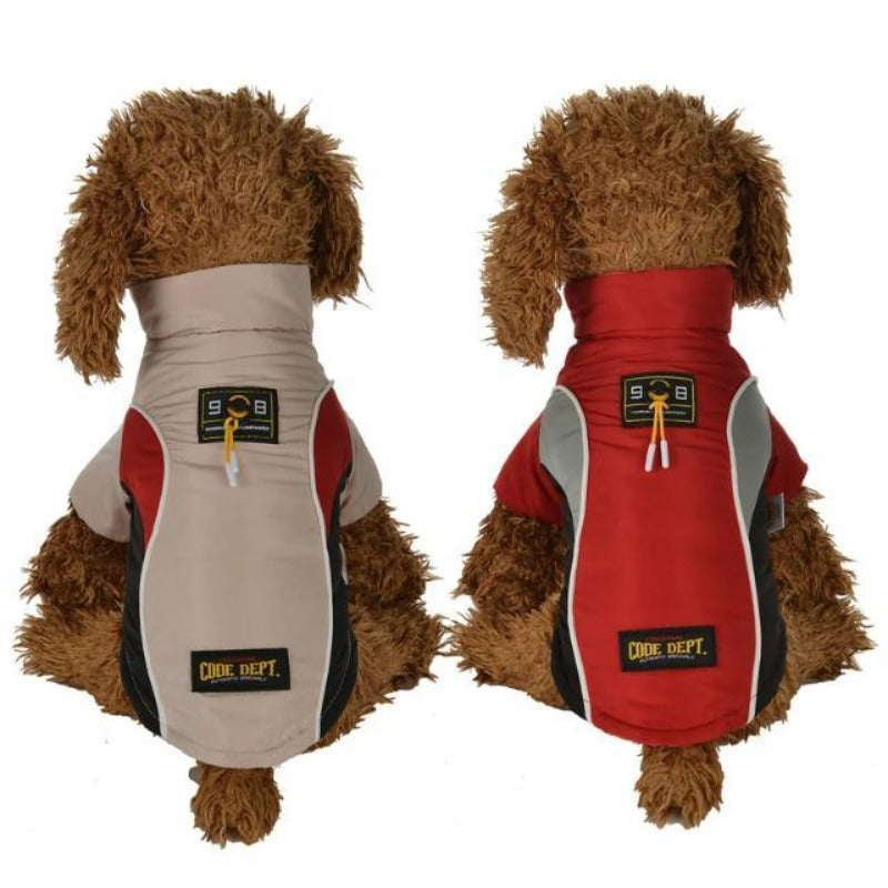 2 Dogs Wearing A Red And Beige All Weather Dog Vest