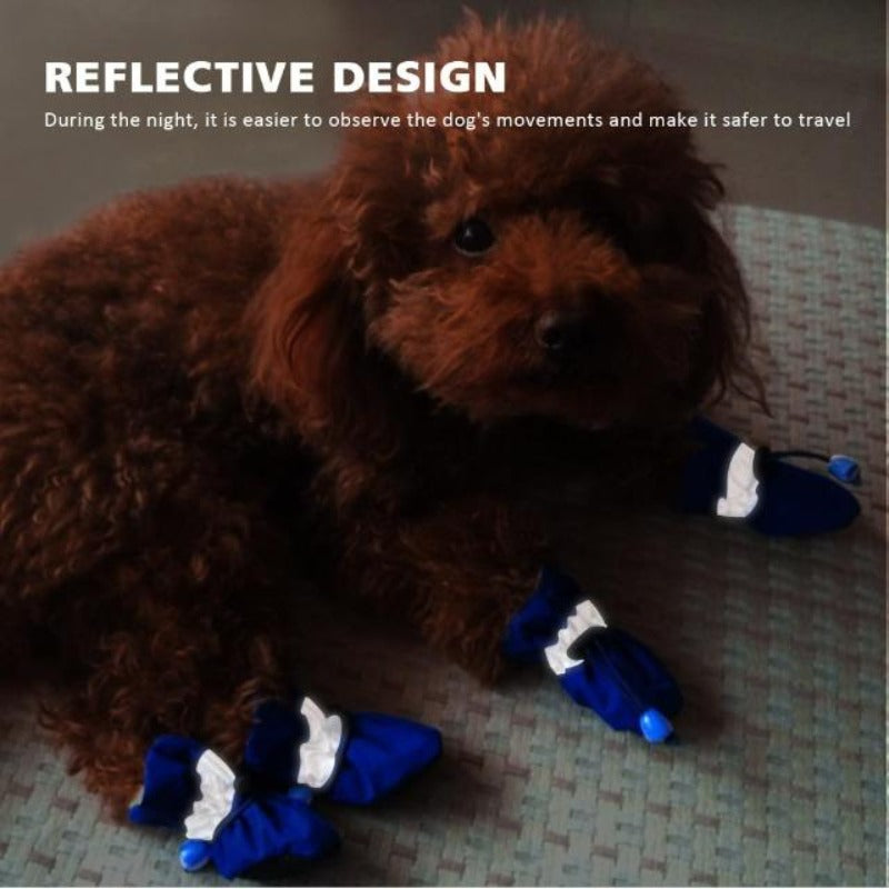 A Dog Wearing The Blue Soft Indoor Dog Booties