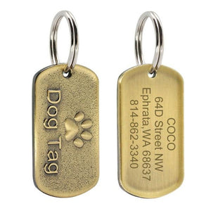 Solid Metal Military Style Bronze Dog Tag
