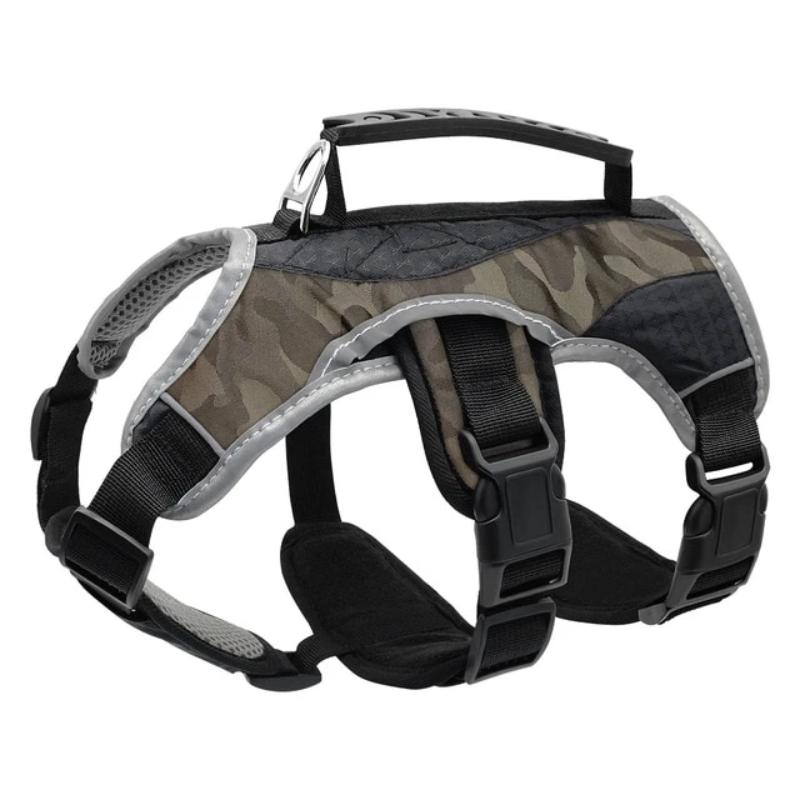 Gray Camouflage Reflective Training Dog Vest Harness