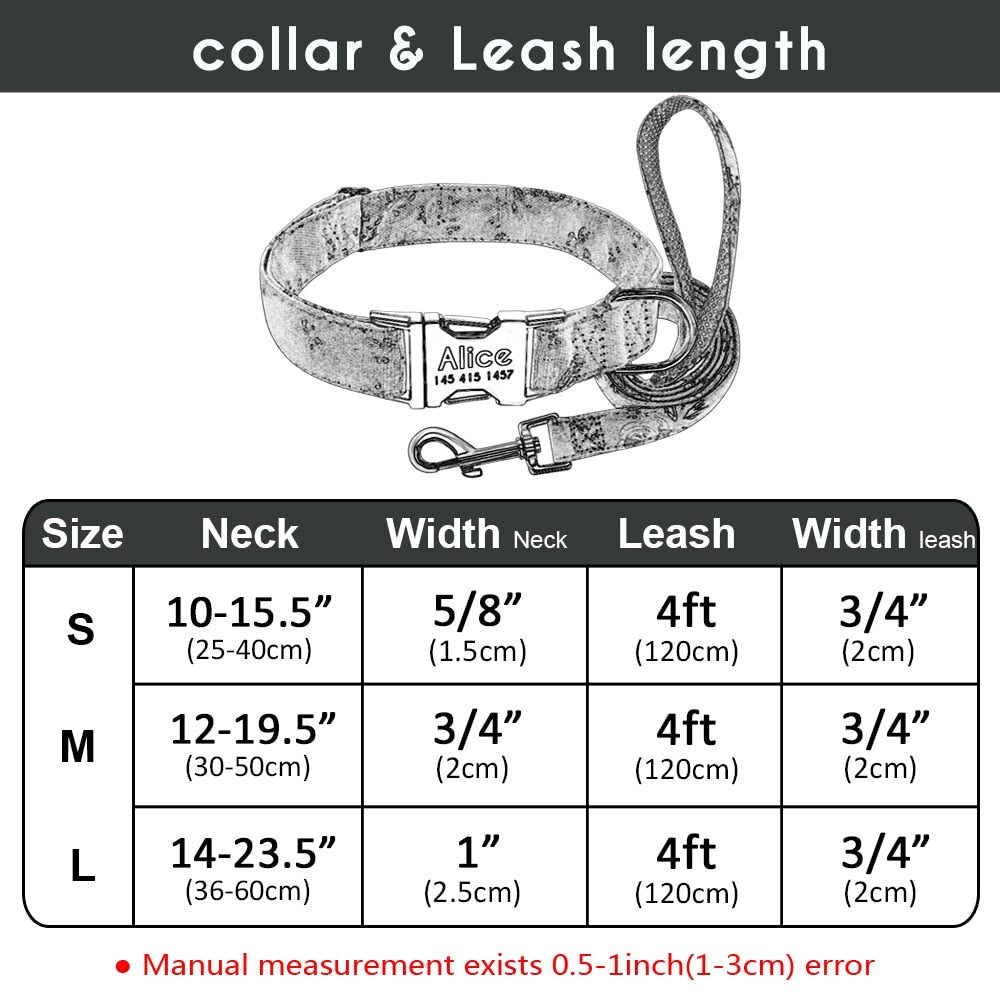 Personalized Dog Tag Collar & Leash S-L