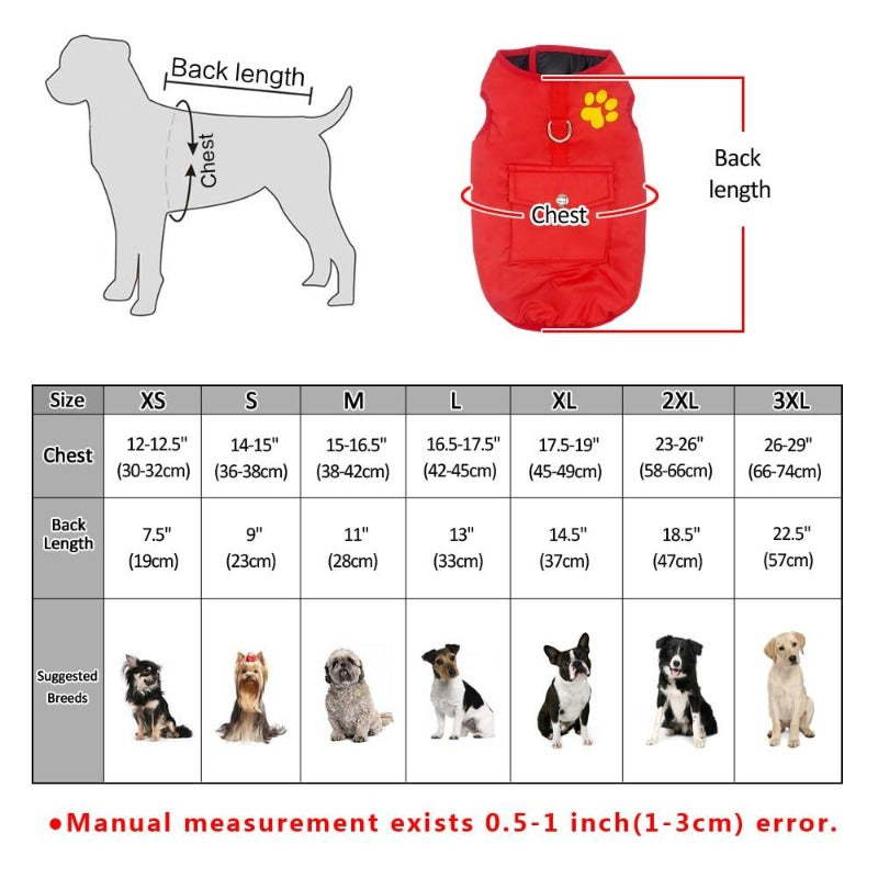 Double Sided Dog Vest Size guide