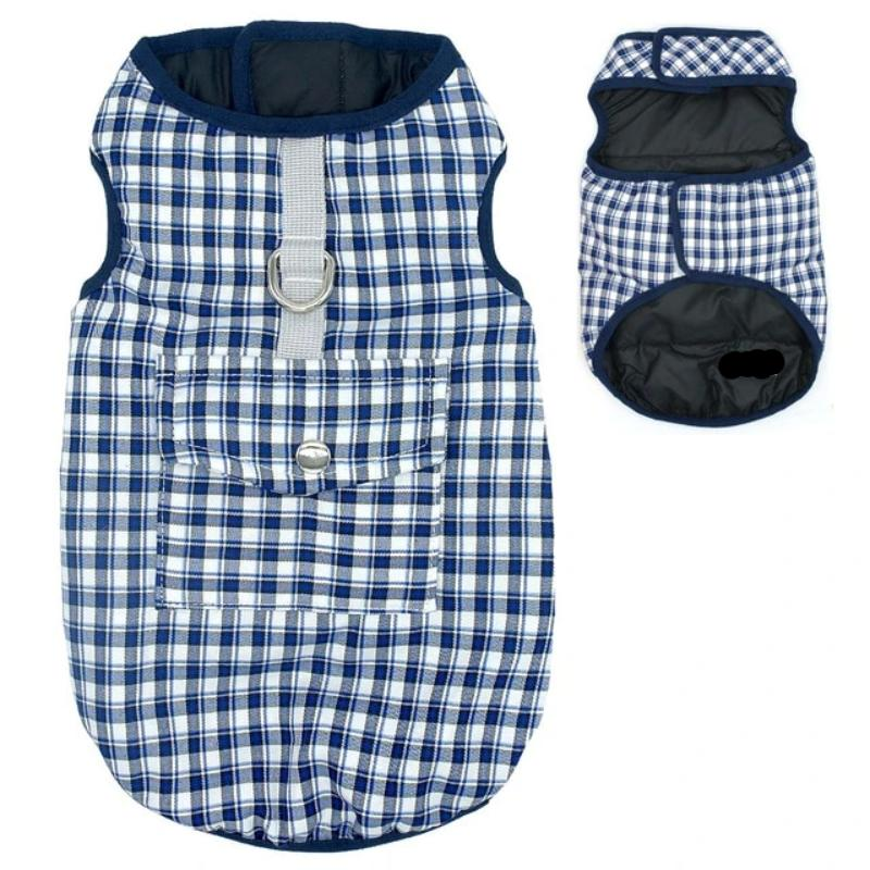 Blue Reversible Plaid Dog Vest