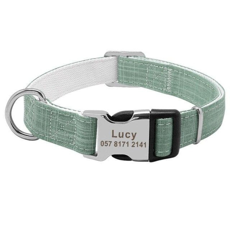 Green Nylon Adjustable Personalized Dog Tag Collar with Metal Buckle and D-Ring