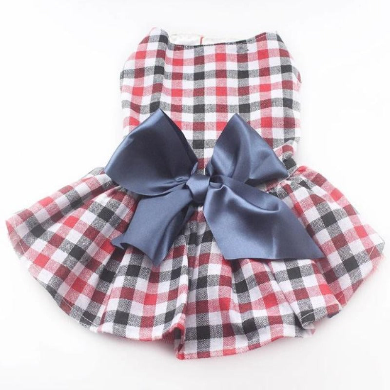Plaid Dog Dress With Bow
