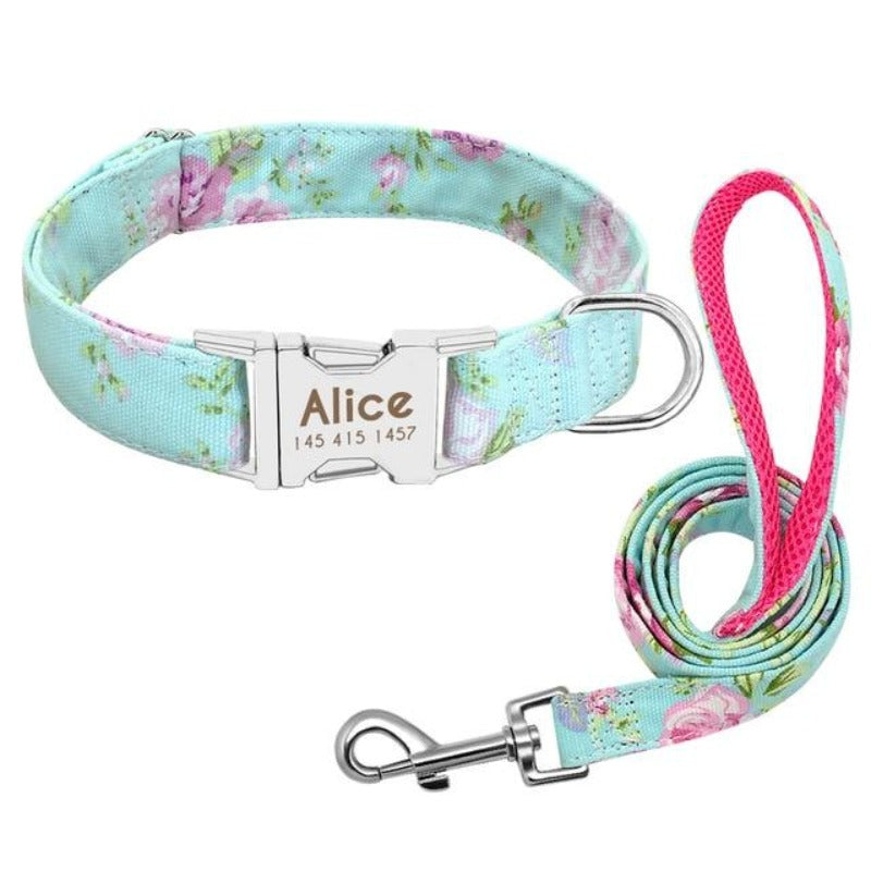 A Green Floral Pattern Custom Personalized Dog Tag Collar and Leash Set