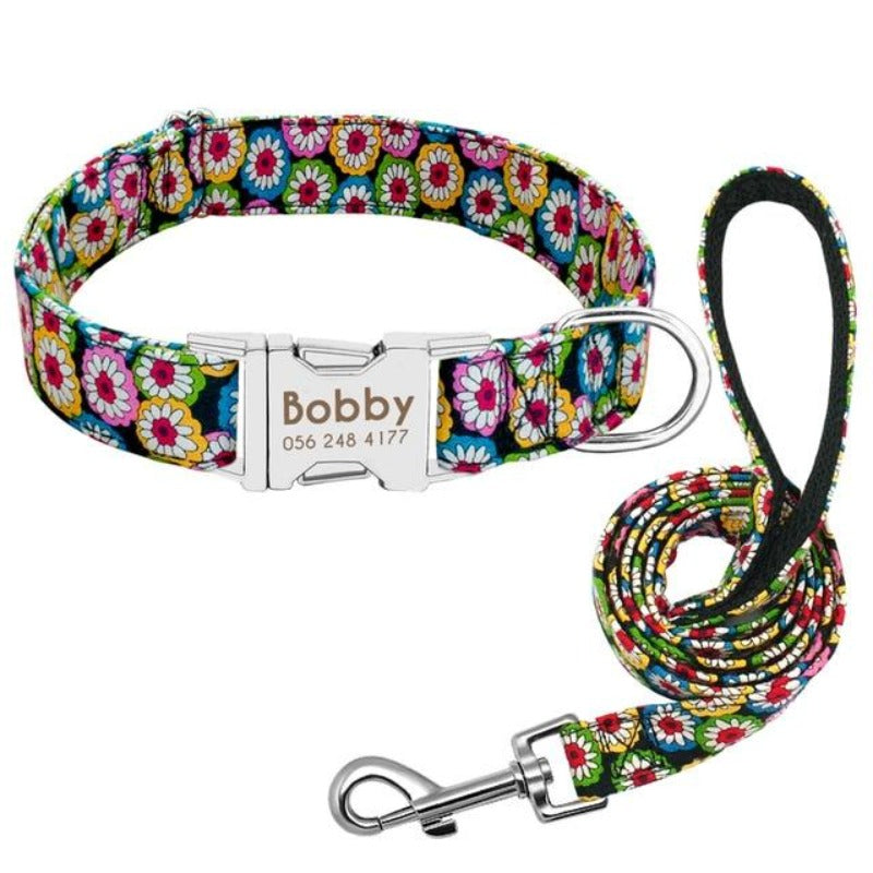 A Colorful Floral Pattern Custom Personalized Dog Tag Collar and Leash Set