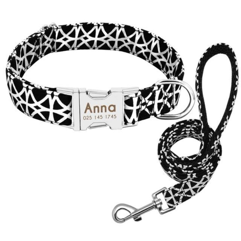 A Black aand White Pattern Custom Personalized Dog Tag Collar and Leash Set