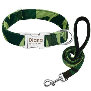 A Green Camouflage Pattern Custom Personalized Dog Tag Collar and Leash Set