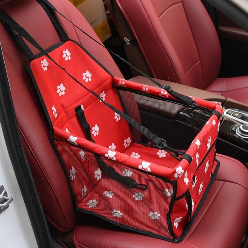 Red Car Seat/Mesh Hammock For Dogs With Pawprints