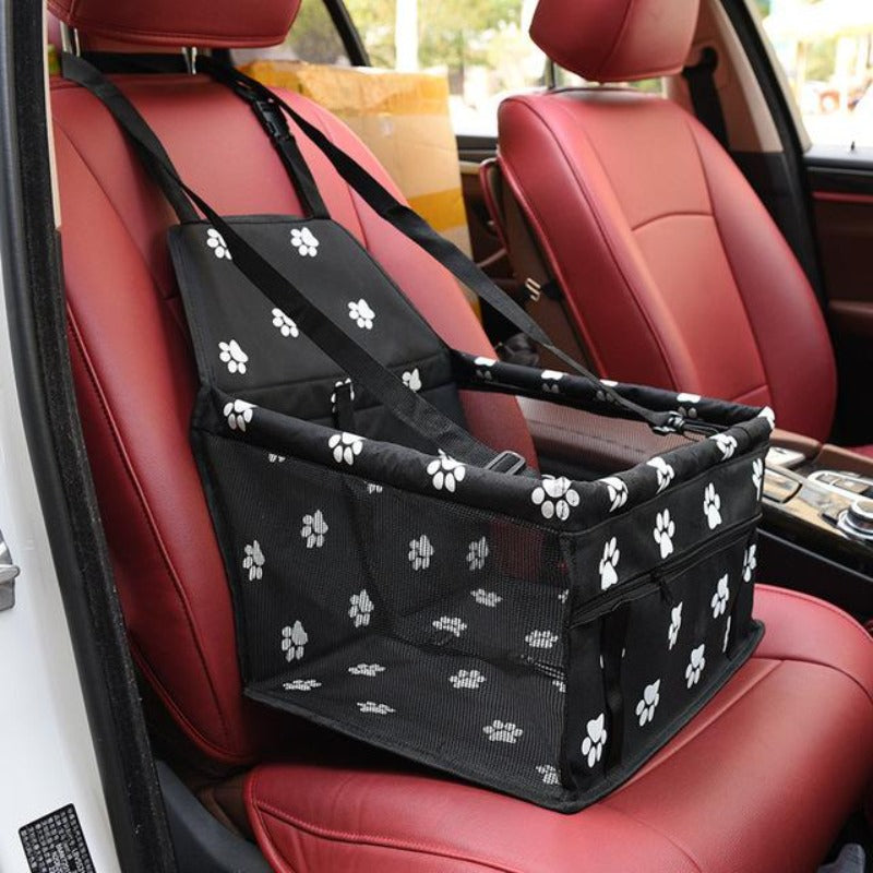 Black Car Seat/Mesh Hammock For Dogs With Pawprints