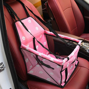 Pink Car Seat/Mesh Hammock For Dogs With Pawprints