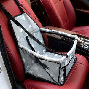 Gray Car Seat/Mesh Hammock For Dogs With Pawprints