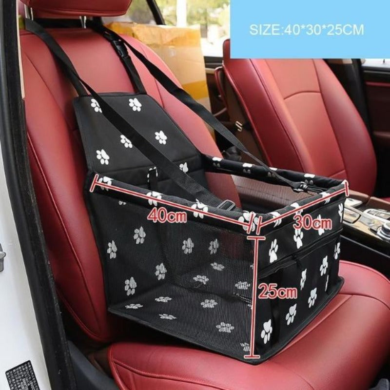 Black Car Seat/Mesh Hammock For Dogs With Pawprints Size Guide