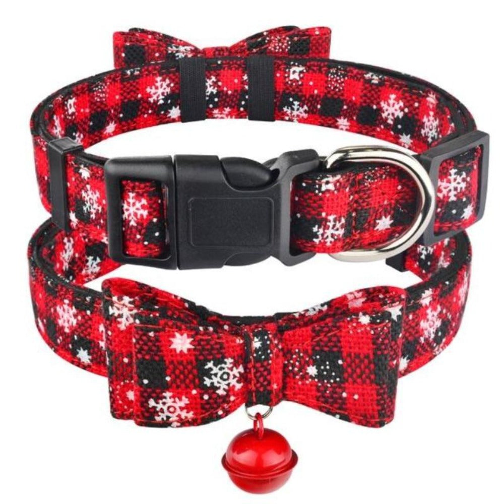 Christmas Dog Collar With Bell & Bow Tie in Dark Red & Snowflake Design