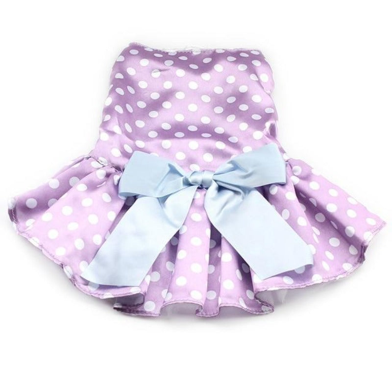 Purple Polka Dot Dog Dress With Big Blue Bow