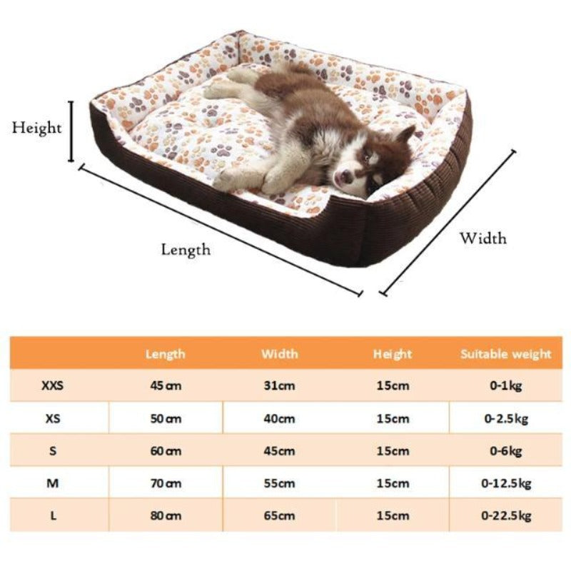 Coffee Colored Fleece Doggy Bed Size Guide