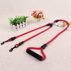 Dual Dog Leash, Red, Blue, Brown, Black, 145cm
