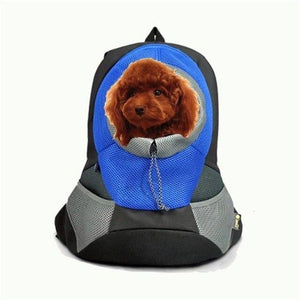 A Dog Inside The Blue Front Carrying Dog Backpack