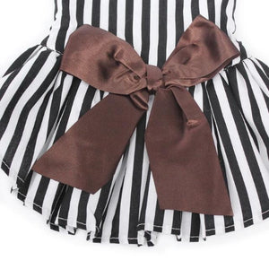 Big Brown Bow Decoration On The Black And White Striped Dog Dress