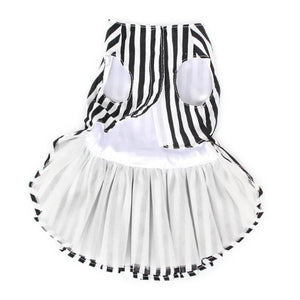The Back Side Of The Black And White Striped Dog Dress With Lining And Velcro