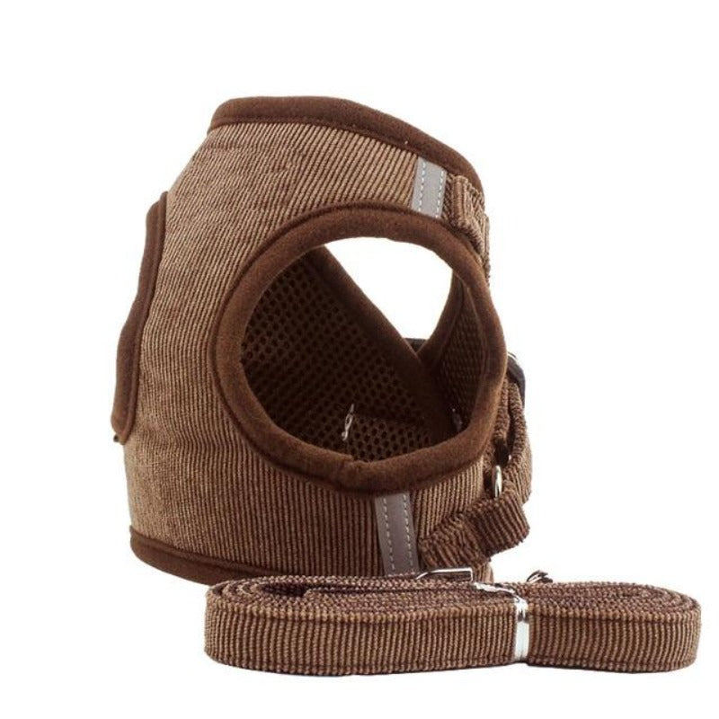 Brown Corduroy Dog Harness & Leash Set