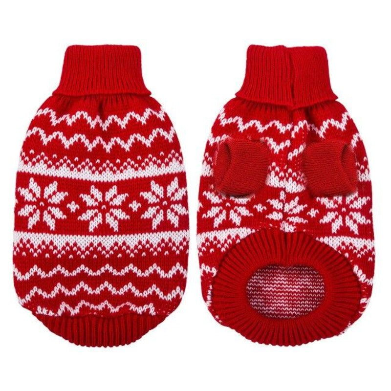 Warm Red Christmas Dog Sweater
