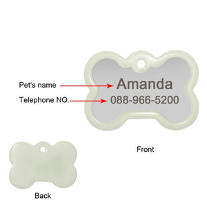 Engraved Dog's Name And Phone Number On The Personalized Engraved Glowing Stainless Steel DogTag