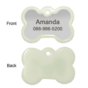 Front And Back Of The Personalized Engraved Glowing Stainless Steel Dog Tag Bone Shape