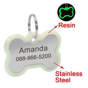 Personalized Engraved Dog Tag Is Made Of Glow In The Dark Resin And Stainless Steel