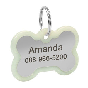 A Bone Shaped Personalized Engraved Glowing Stainless Steel Dog Tag