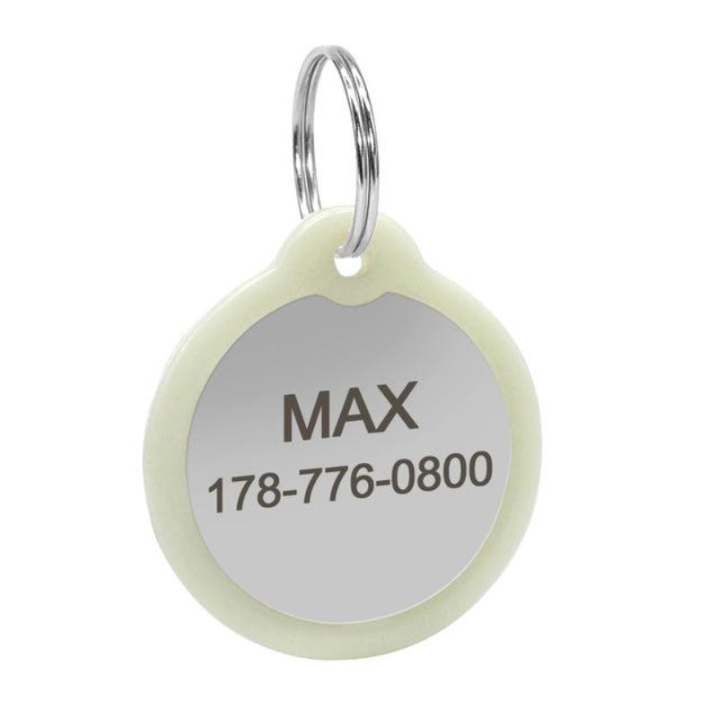 Personalized Engraved Glowing Stainless Steel Dog Tag Round Shape