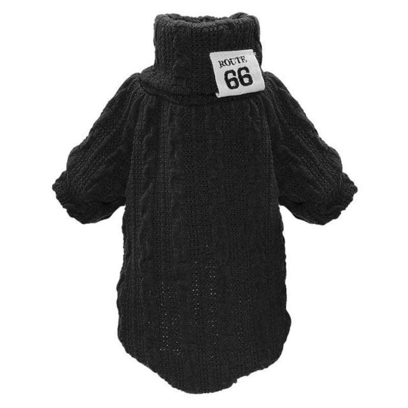 Black Classic Knit Dog Sweater