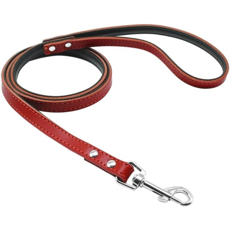 Toggy Doggy Red Leather Dog Leash