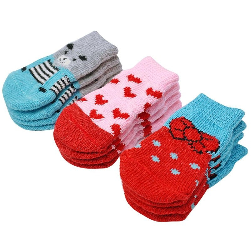 Blue, Pink & Red Indoor Knit Dog Socks
