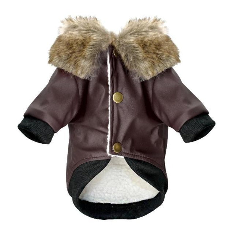 Brown Fur Collared Leather Dog Jacket