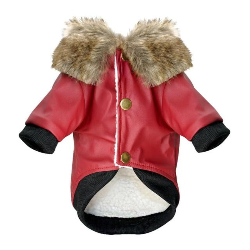 Red Fur Collared Leather Dog Jacket