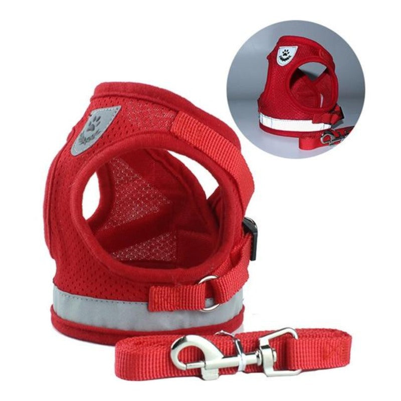 Red Reflective Dog Mesh Harness
