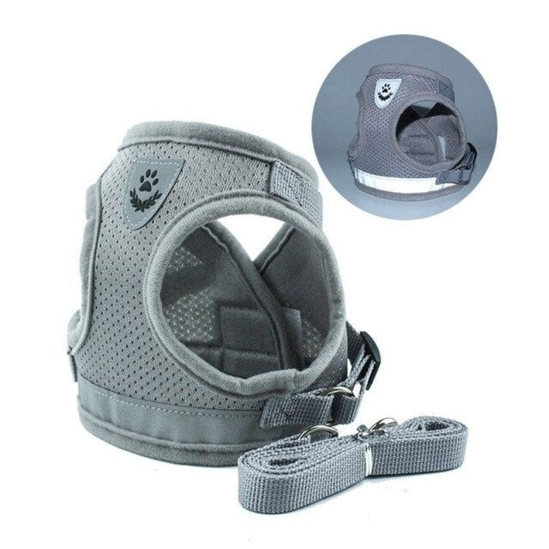 Gray Reflective Dog Mesh Harness