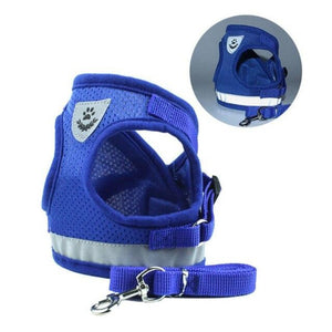 Blue Reflective Dog Mesh Harness