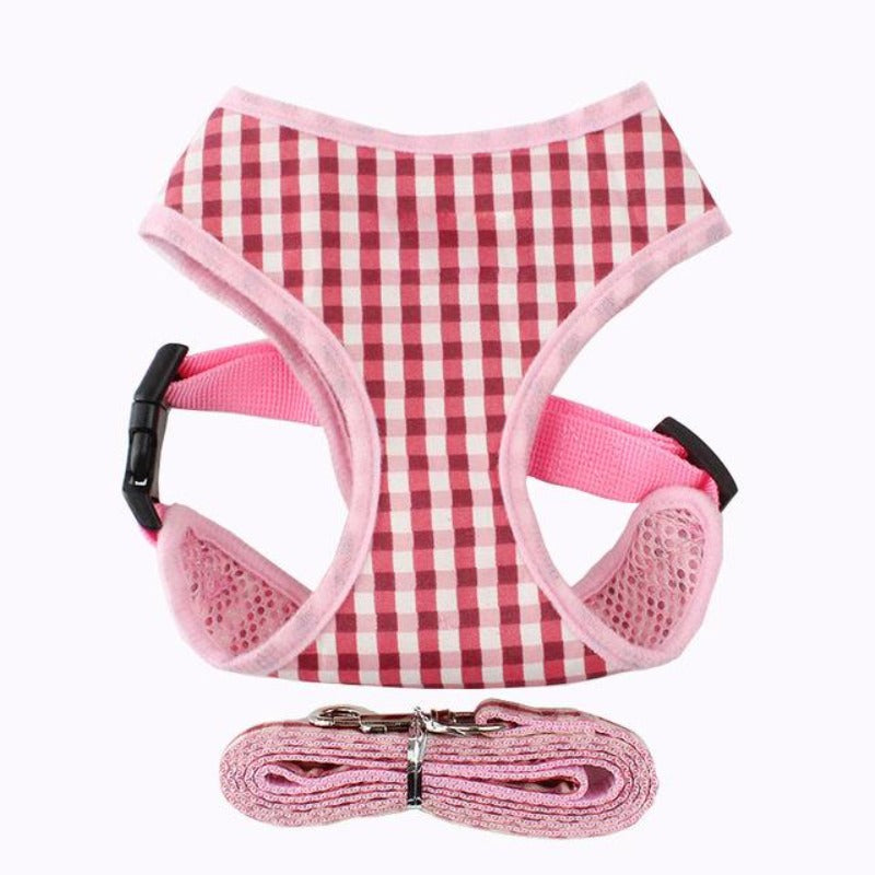 Pink Plaid Dog harness & Leash Set