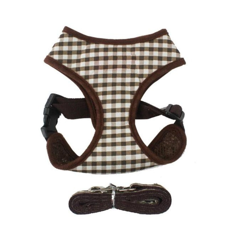 Brown Plaid Dog Harness & Leash Set