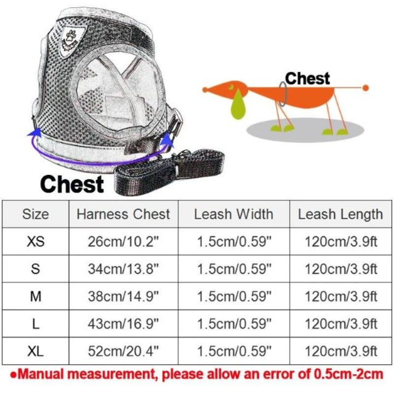 Size Guide of The Reflective Dog Mesh Harness