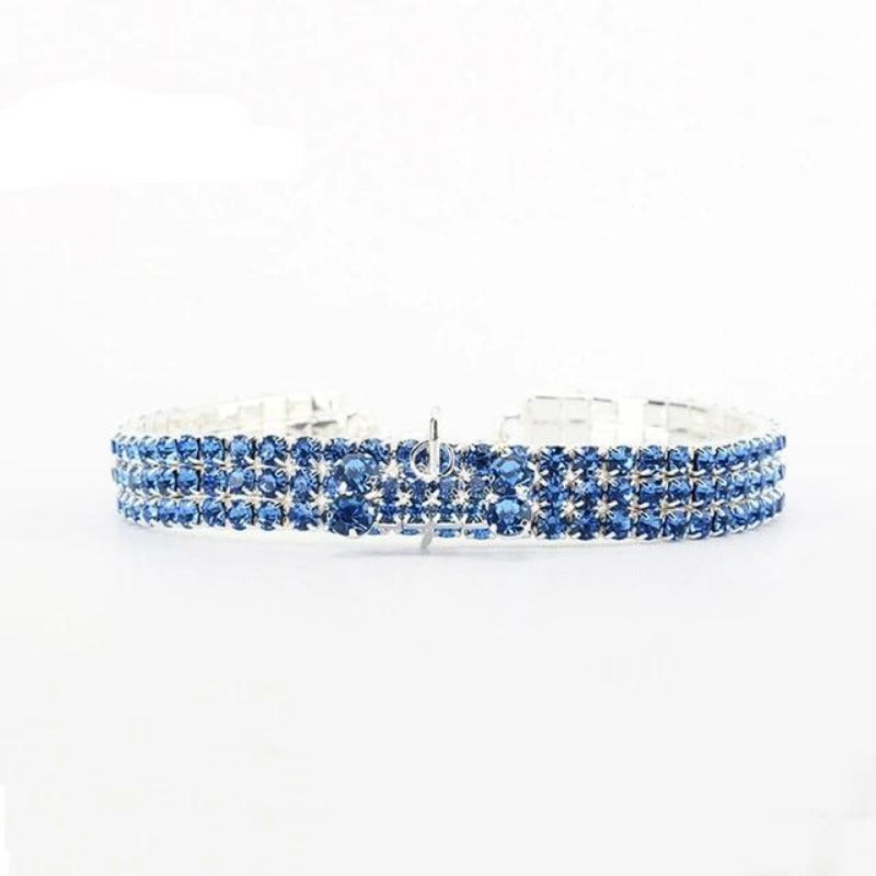 Shiny Blue Rhinestone Bling Dog Collar with Bone Pendant