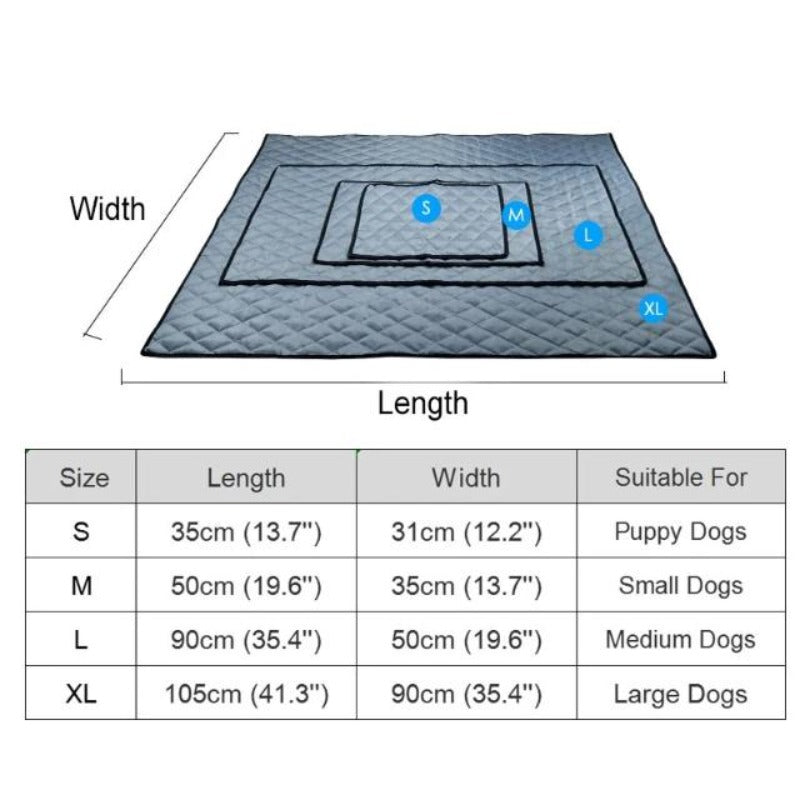 Cooling Doggy Bed/Mat Size Guide