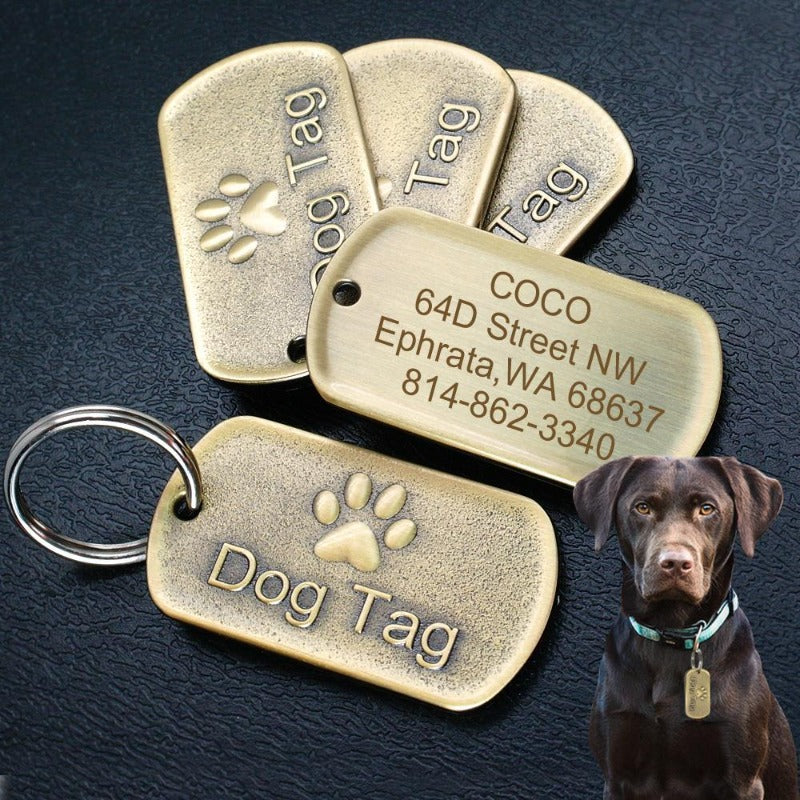 Toggy Doggy Solid Metal Military Style Bronze Dog Tag
