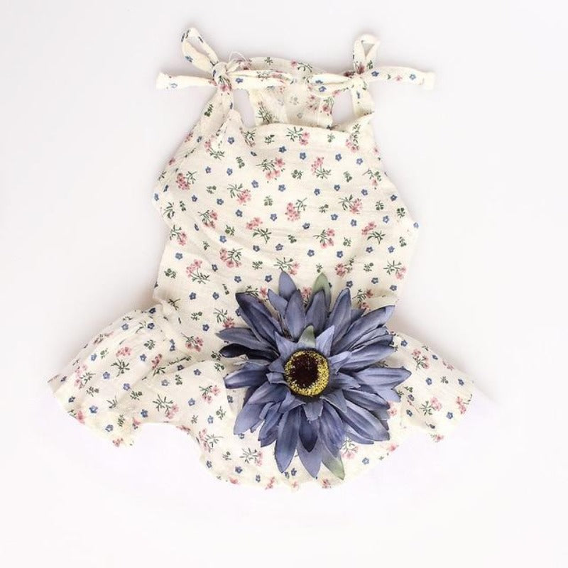 Blue Big Flower Dog Dress