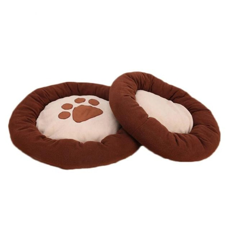 Round, Waterproof Doggy Bed With Pawprint Coffee Color